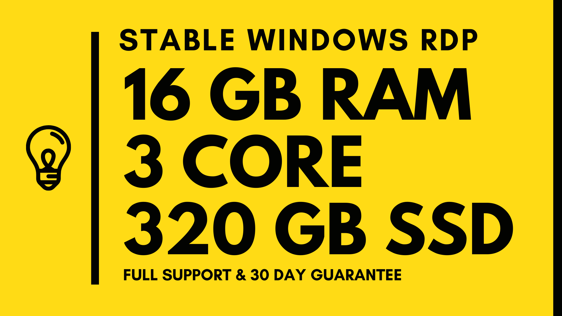 Windows VPS RDP 16GB RAM 3CORE 320GB SSD