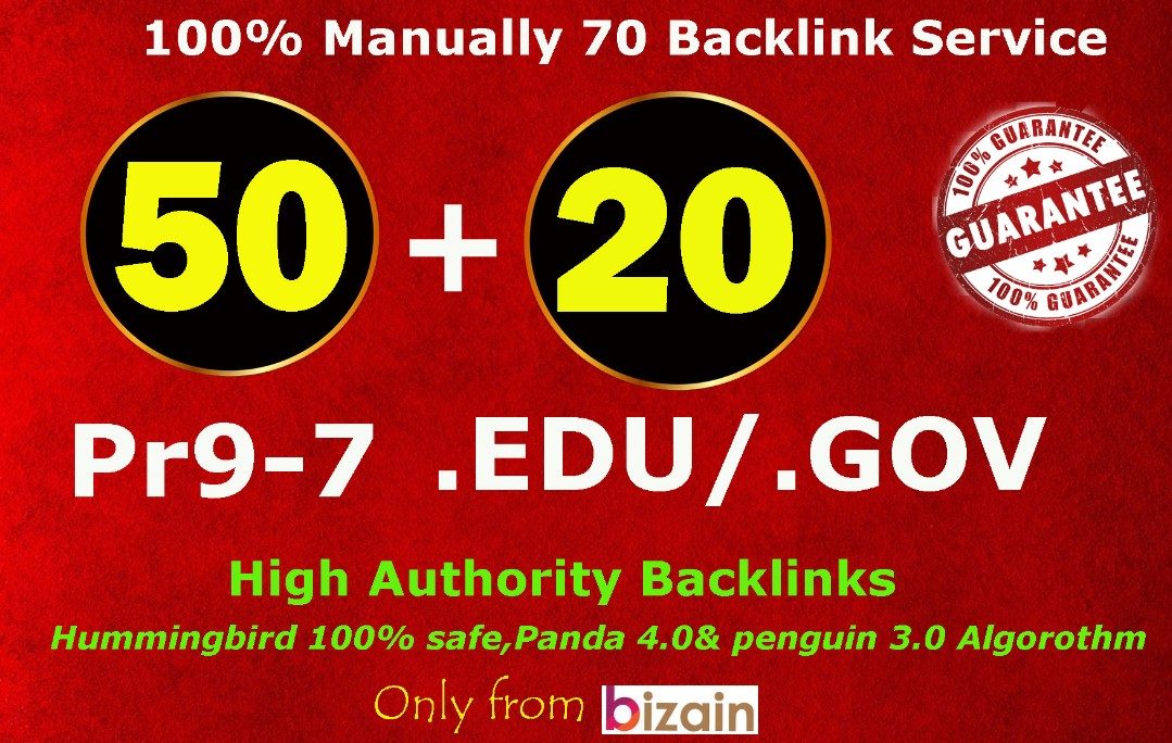 Exclusively-70 Backlinks 50 PR9 +20 EDU/GOV 80+ DA High Quality SEO Permanent Links Increase Google