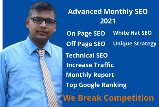 Monthly SEO Service with High Quality Backlinks for Google Top Ranking