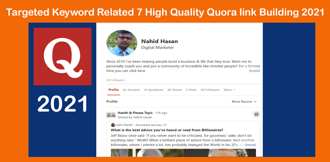 Targeted Keyword Related 7 High Quality Quora link Building 2021