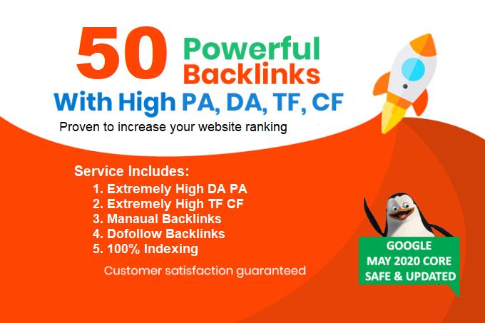 I Wil Build 50 Powerful Dofollow Seo Backlinks on High DA,  PA,  TF,  CF