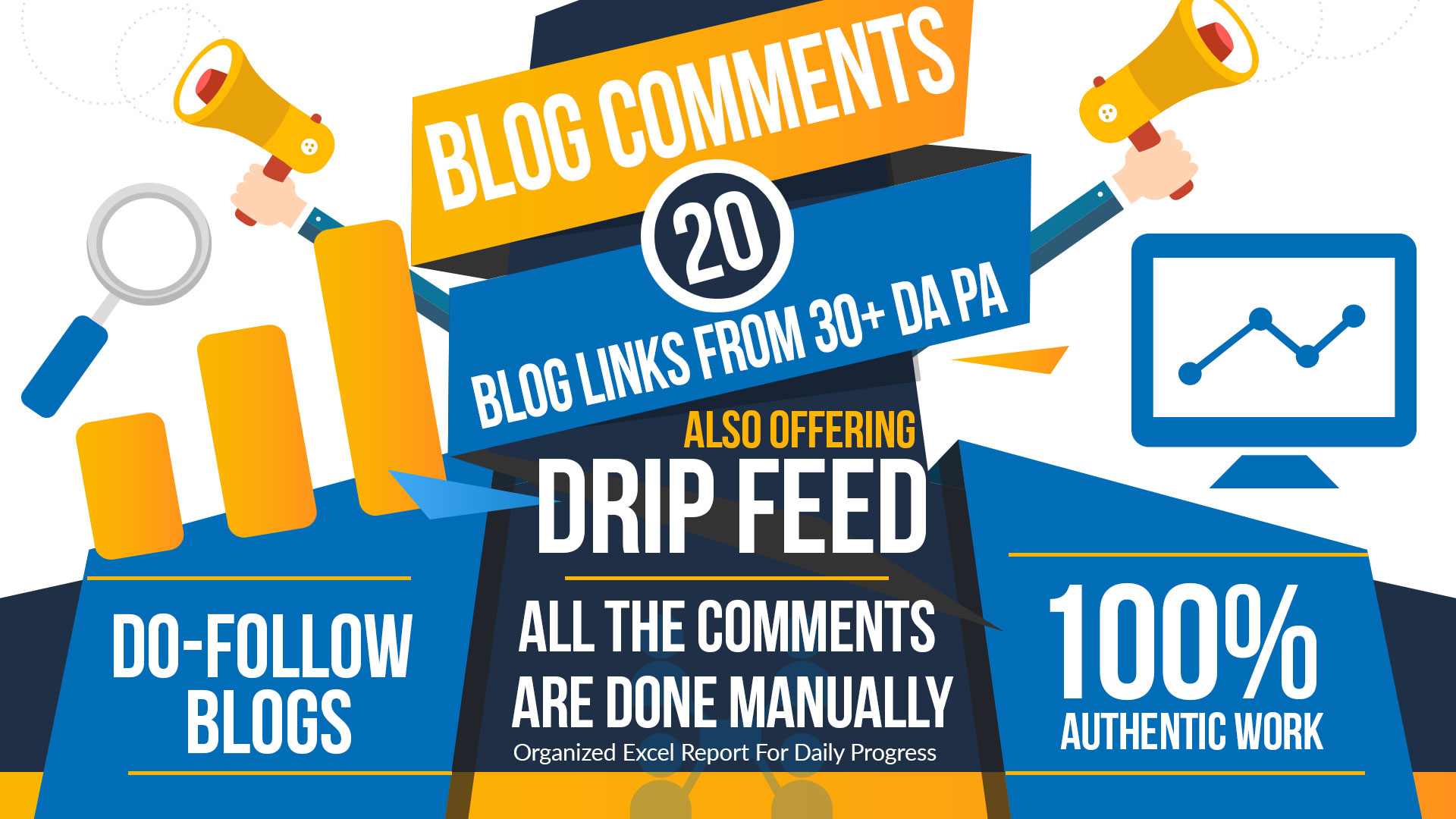 I Will Create Manually 30 Days Dripfeed Seo Backlinks and Daily 20 Dofollow Blog Comments