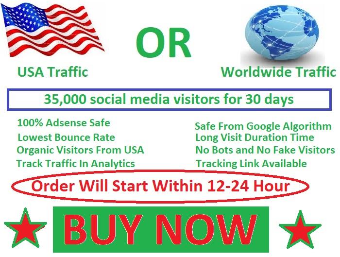 35,000 social media visitors guarantee 100 for 30 days