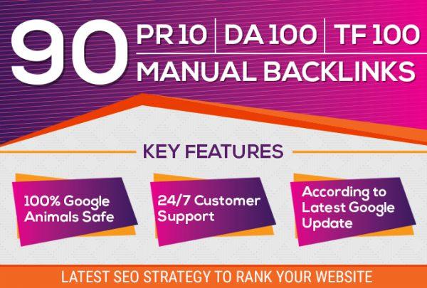 Do 90 Unique Domain SEO Backlinks On Tf100 Da100 Sites