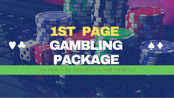 1st Page Gambling Package 25 Strong PBN Backlinks + 50 EDU/GOV Backlinks + 100 Profile Backlinks