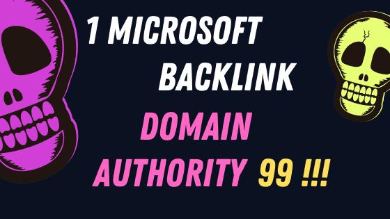 1 Microsoft Backlink Domain Authority 99