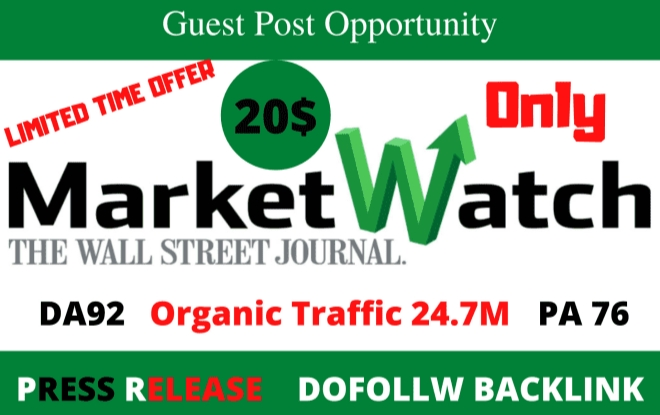 I will publish guest post on marketwatch da92 with dofolow links