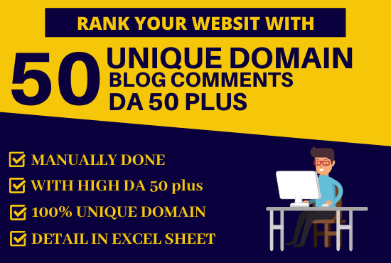 Do 50 Unique Domain Blogcomments with DA 50 Plus