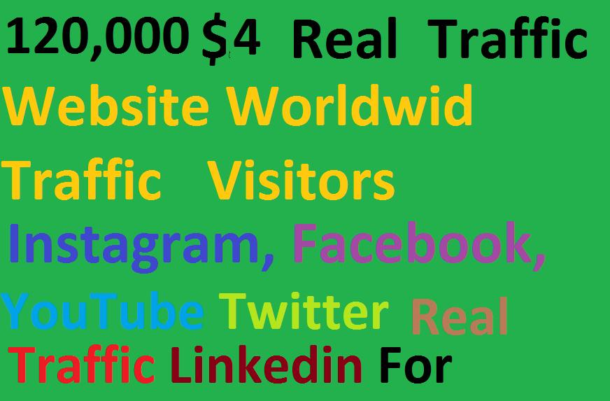 Real 120,000 Website Worldwide Traffic Visitors instagram Facebook, Youtube, twitter, Linkedin for