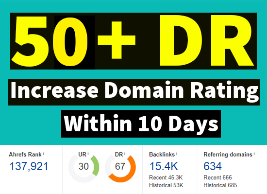 I will increase ahrefs domain rating DR 50