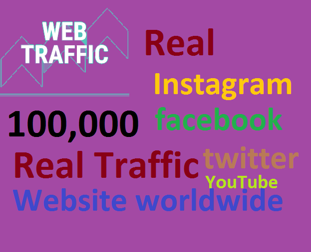 Real+100,000 Website Worldwide Traffic Google Bing Instagram Facebook twitter Youtube