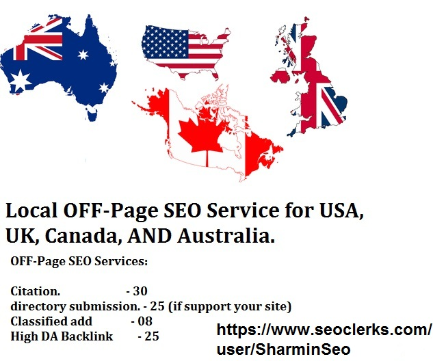 DO OFF-Page SEO for USA,  UK,  Canada,  AND Australia