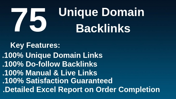 Do 75 unique domain dofollow backlinks high quality DA with 3