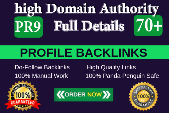 manually create10 pr9 da 70 + SEO dofollow backlinks profile