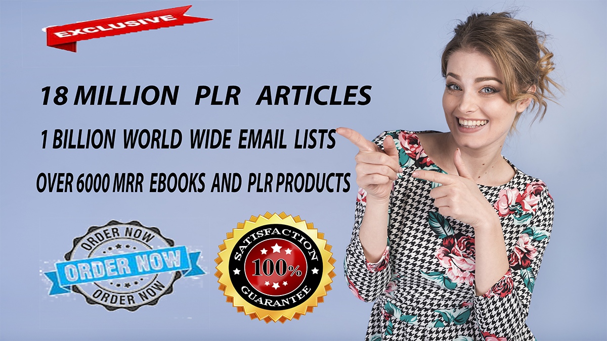 Get Over 18 Million PLR Articles,  eBooks, 1 Billion Email Database,  Bonuses and Giveaways