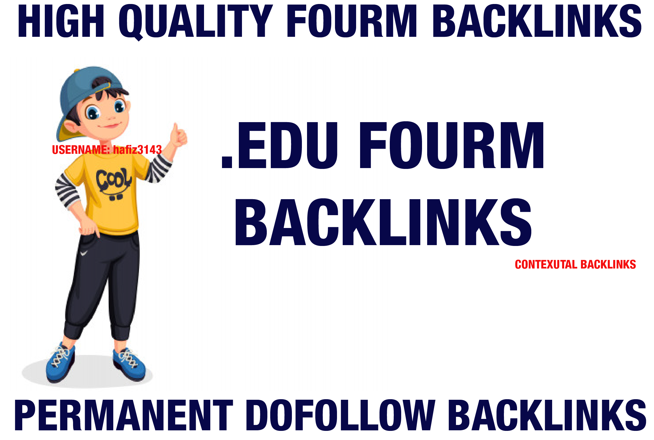I will Provide. EDU Forum Contextual Backlinks MOZ High DA AHREFs DR Dofollow Backlinks