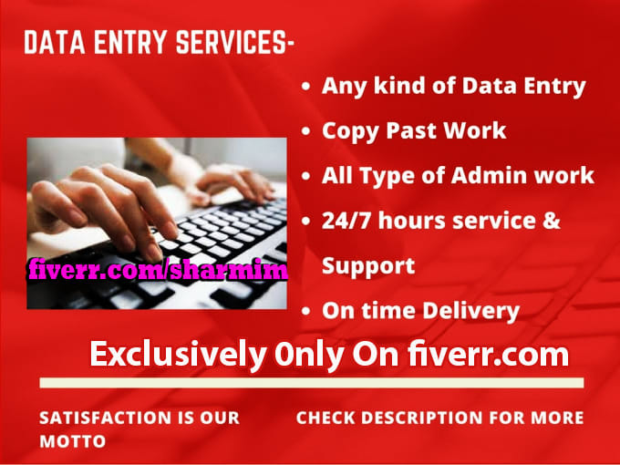 I can do any type of Data Entry work with 100% accuracy
