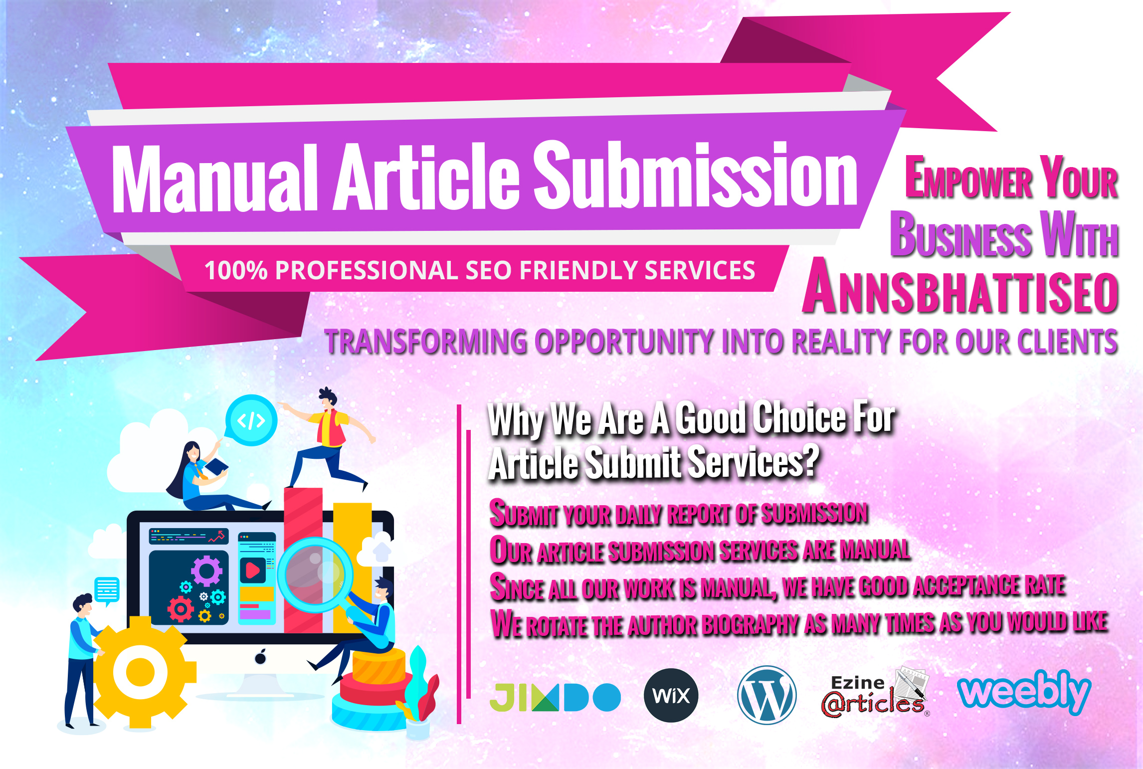 We do 10 Links 100 professional SEO friendly manual article submission services
