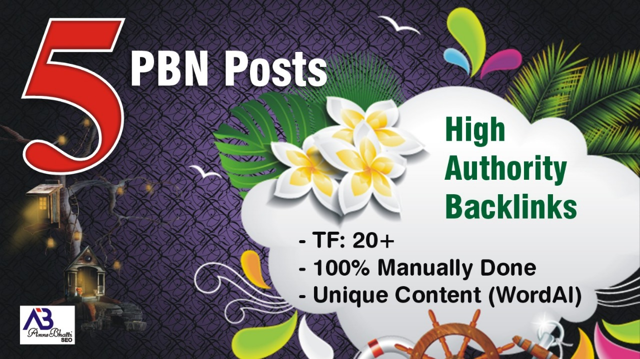 5 High Tf Cf Permanent Website Pbn Backlinks