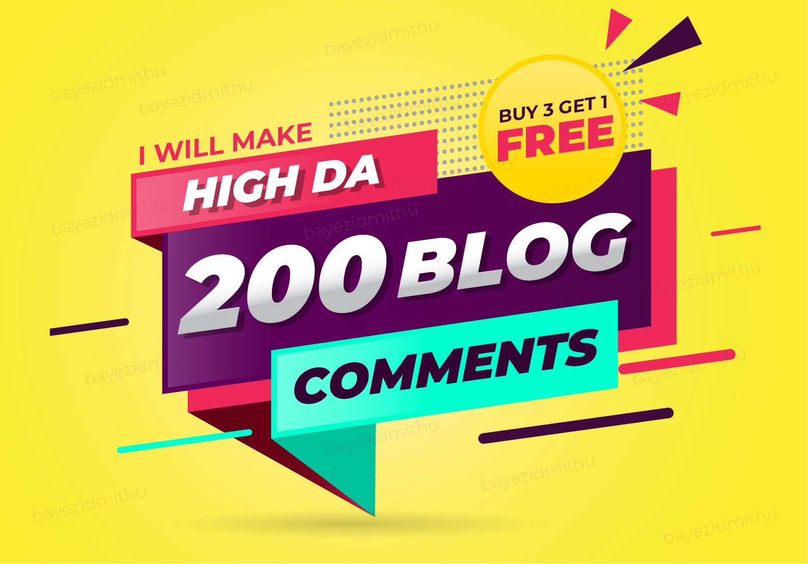 Build 200 Dofollow Blog Comments on High DA Websites Buy 3 Get 1 Free