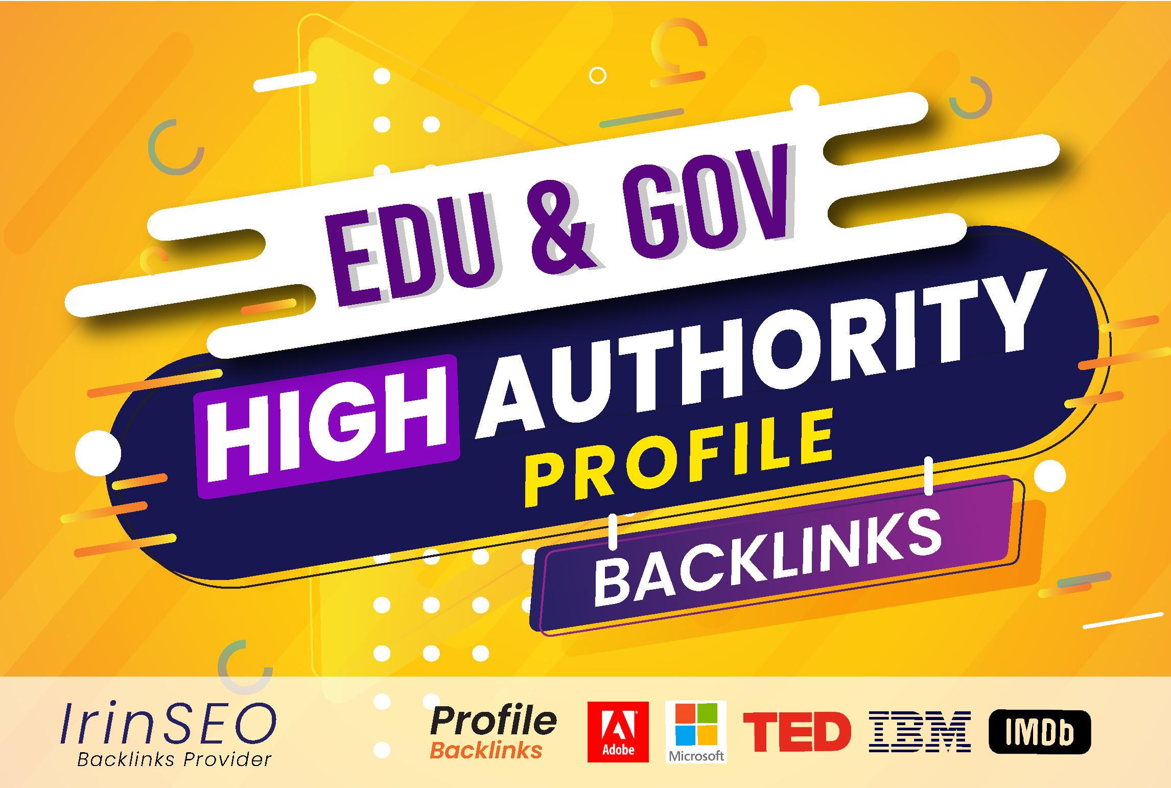 Manually 100 Profile Backlinks,  High DA,  PA,  PR9,  trust flow for website seo