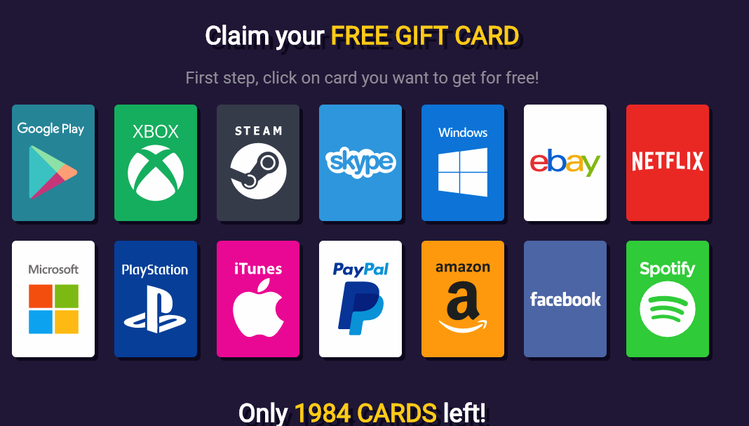 Gift Cards Generator CPA CPI Killer Landing Page Offers