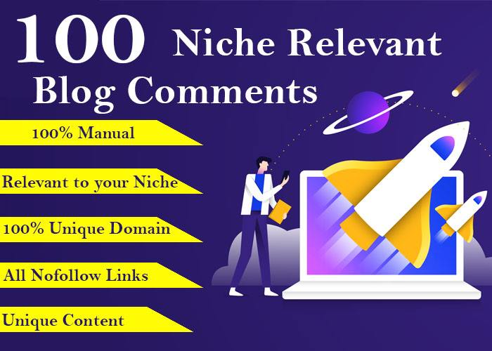 I will provide 100 niche relevant manual blog comments backlinks