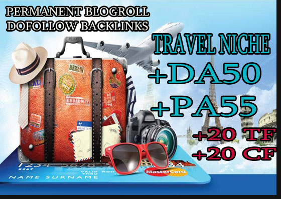 give your backlink on da50x6 travel blogroll permanent