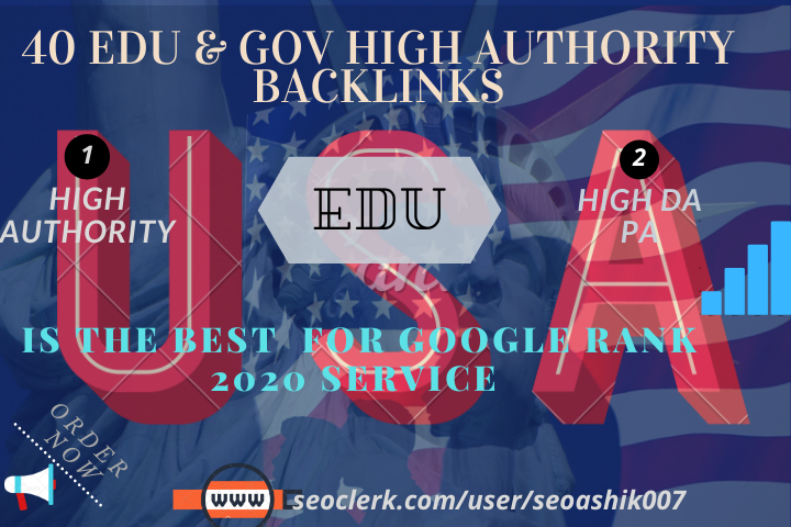 40 EDU & GOV High Authority Backlinks 2020 Best Service