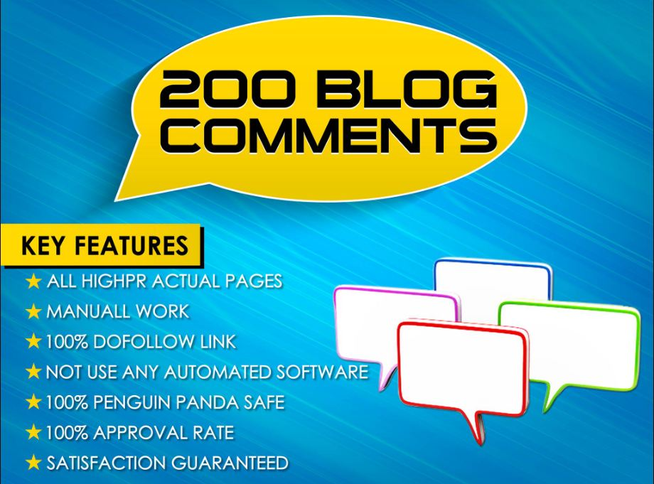 I will do 200 high domain authority dofollow blog comments manual on offpage backlinks