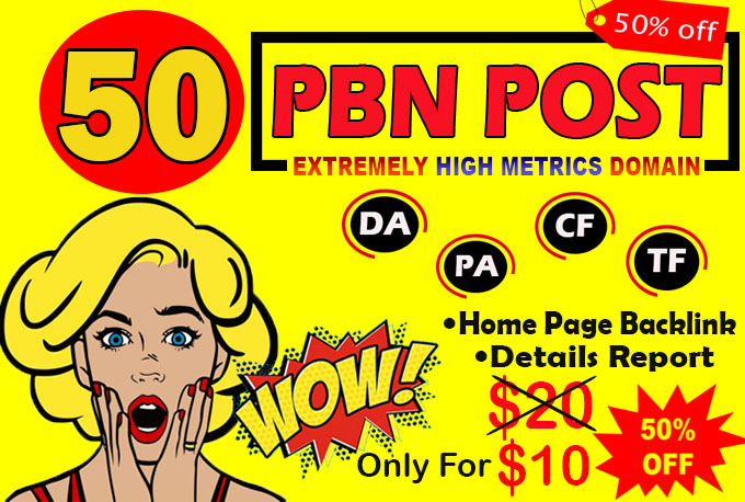 permanent 50 homepage high metrics dofollow pbn backlinks