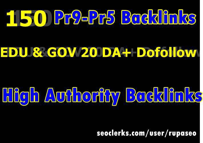 Handmade HQ150 Google Ranking Pr9 SeoDA 100-50 Dofollow Backlinks with edu gov