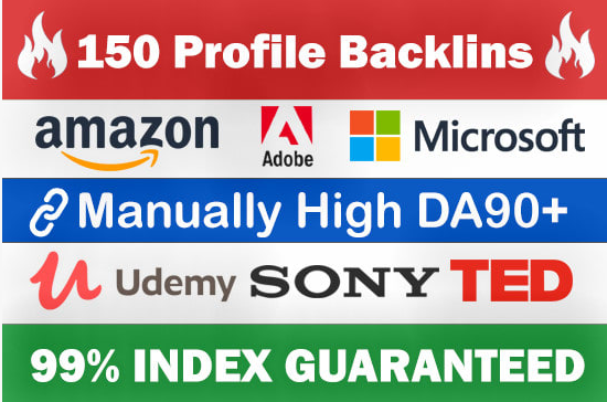 Build 150 Profile Backlinks From Amazon, Microsoft, Sony Etc for $5