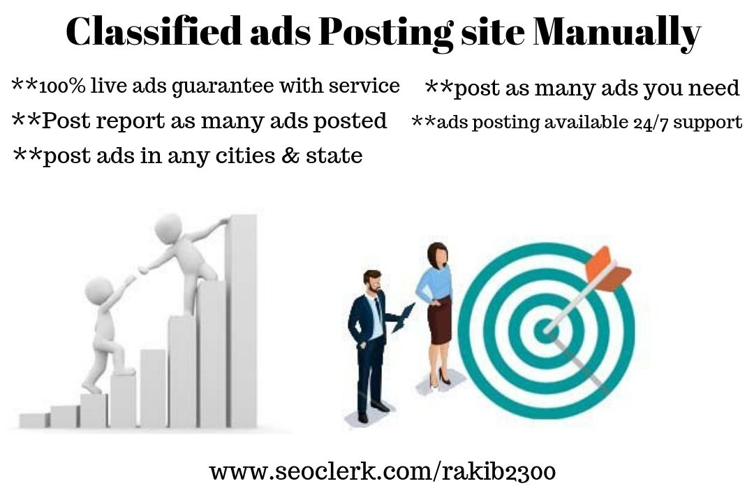 I will post your ads to 25 top classified sites manually