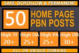 Build 50 pbn Do-Follow DA 25+ homepage parmanent high quality backlinks