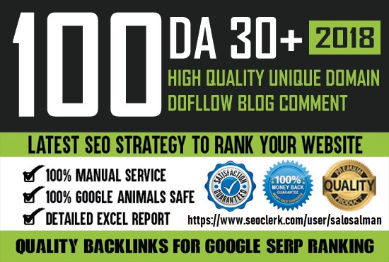 I will provide 100 unique domain blog comment DA 30+dofollow backlinks