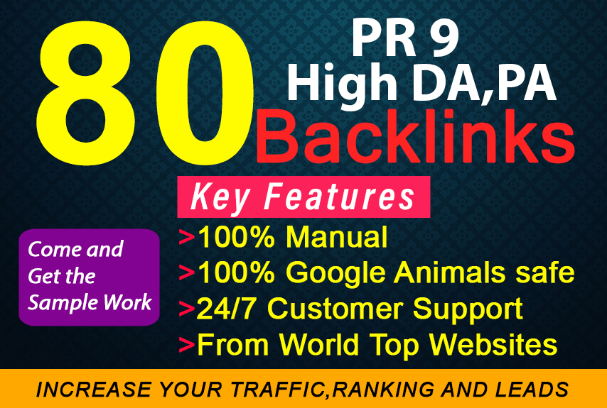 I will do manual 80 Unique SEO Profile backlinks on high DA, pr9 backlinks