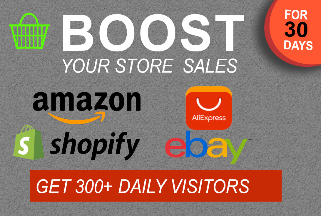 i will do Real promotion of any Amaazon,  eBay,  Etsy,  Alibaba,  AliExpress or /shopify store