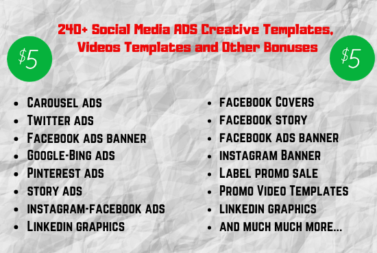 I will give you 240 social media ads creative templates and other bonuses