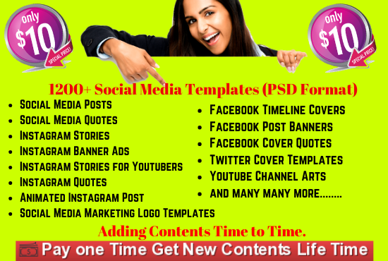 I will give you 1200 Social Media Templates