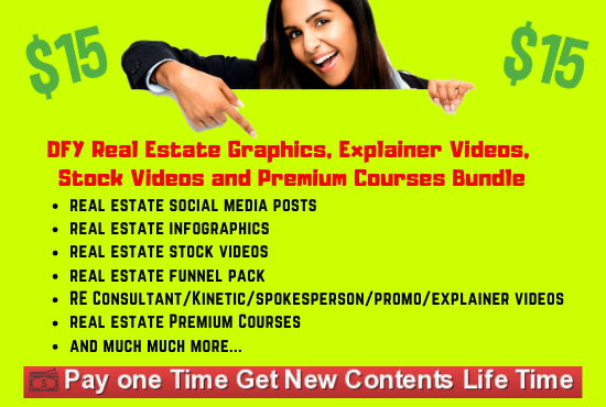 I will give you DFY Real Estate Graphics,  Explainer Videos,  Stock Videos and Premium Courses Bundle