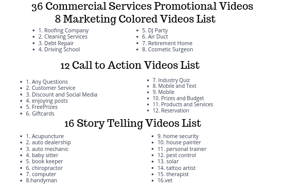 36 Commercial Services Promotional Videos