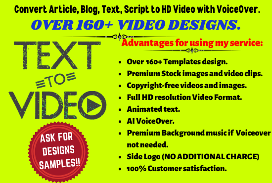 I will convert any niche article,blog,text to HD video with voiceover