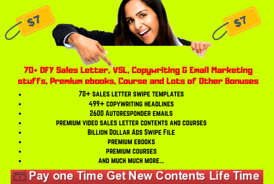 I will give you 70 DFY Sales letter, VSL, Swipe files, copywriting, email templates and other Bonuses