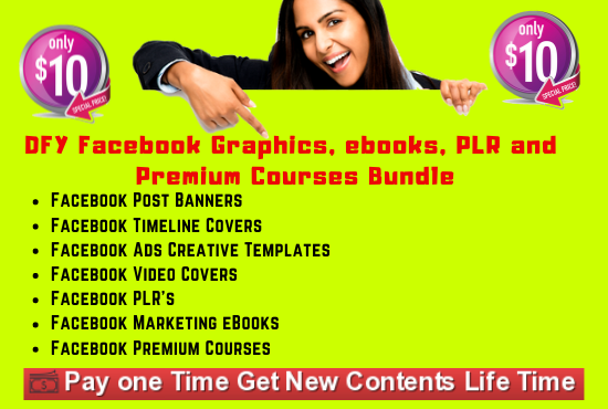 I will give you DFY Facebook Graphics, ebooks, PLR and Premium Courses Bundle