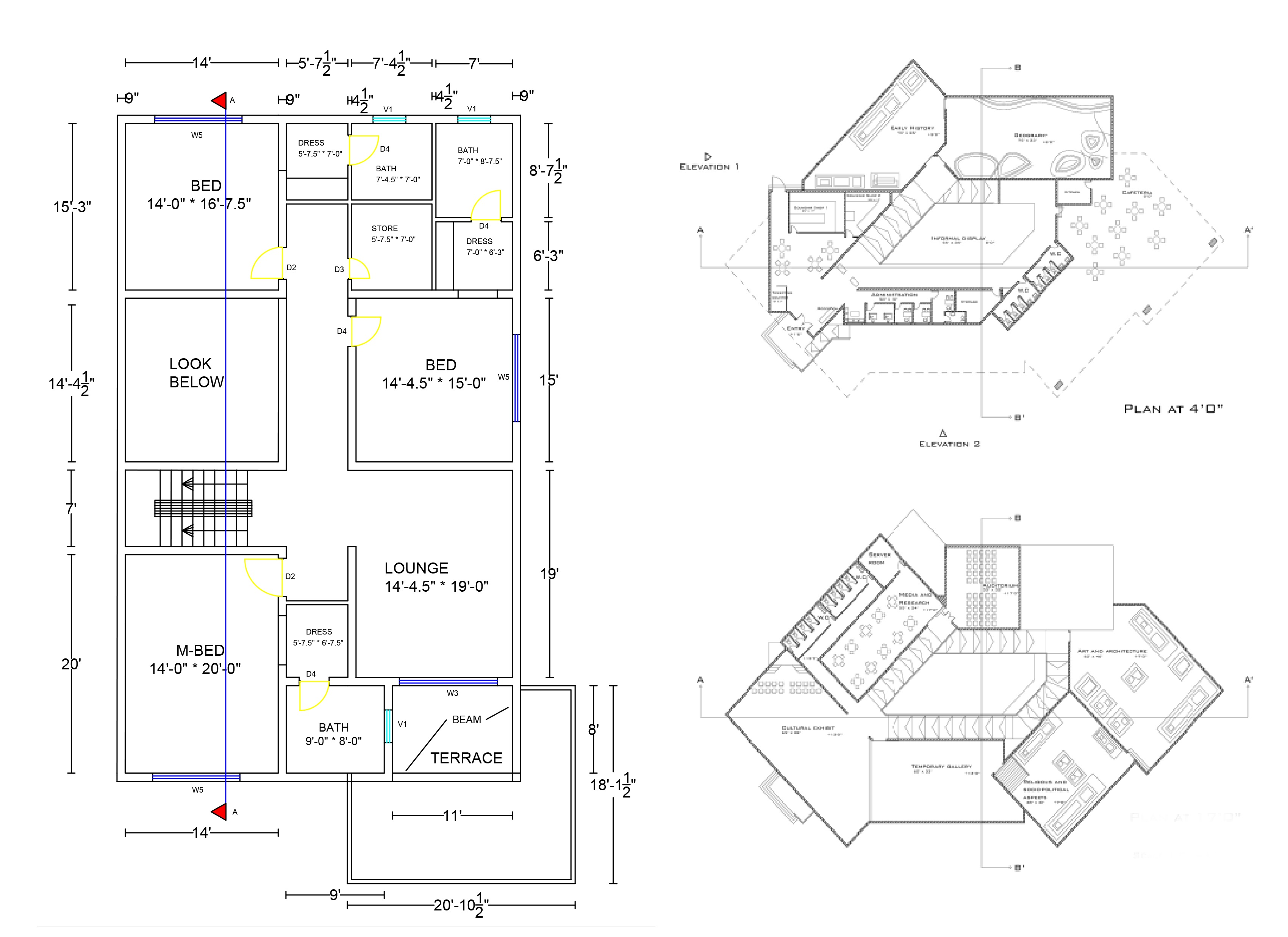 Architecture Plans, Sections, Blueprints 2D, 3D by AutoCAD and Sketchup