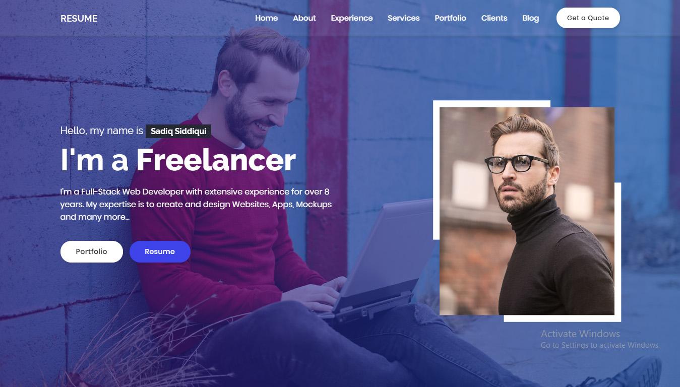 Resume - Responsive Personal Portfolio / CV Template HTML5