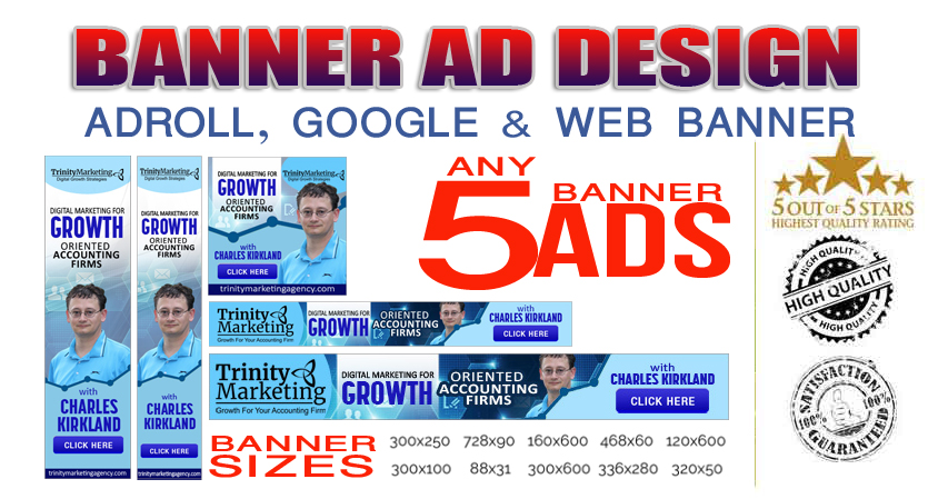 Premium Quality Banner Ad Design - Adroll,  Google and Web Banner
