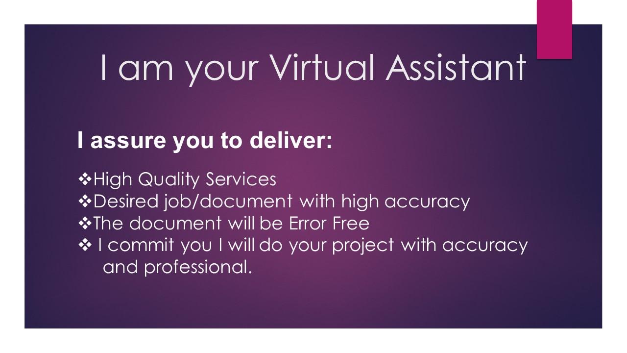 I am a Virtual Assistant Data Entry Research Transcript