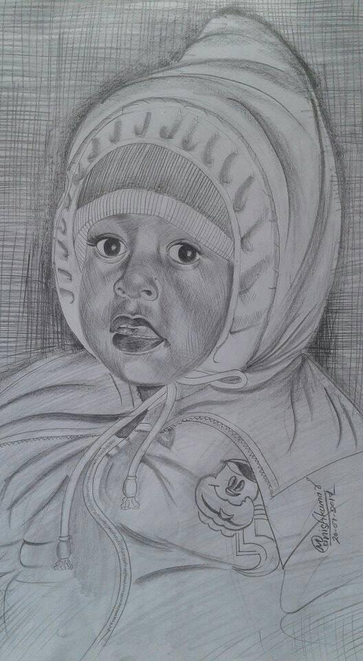 Beautiful painting of baby designed with pencil